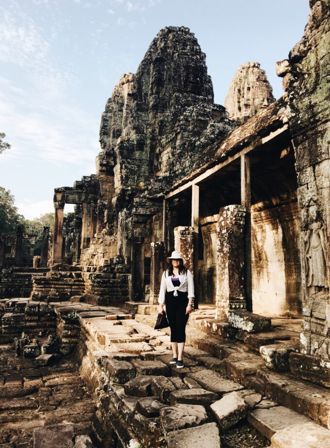 Posing at Bayon Temple in Angkor Wat