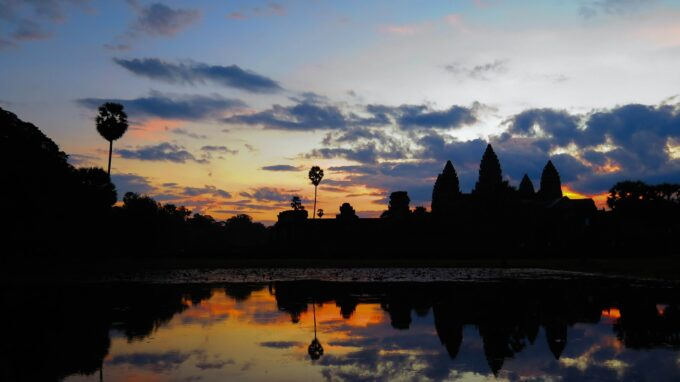 The famous Angkor Wat sunrise in Cambodia