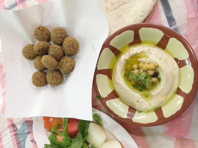 Delicious falafels courtesy of Hashem Restaurant in Amman (JD2.50/C$5)