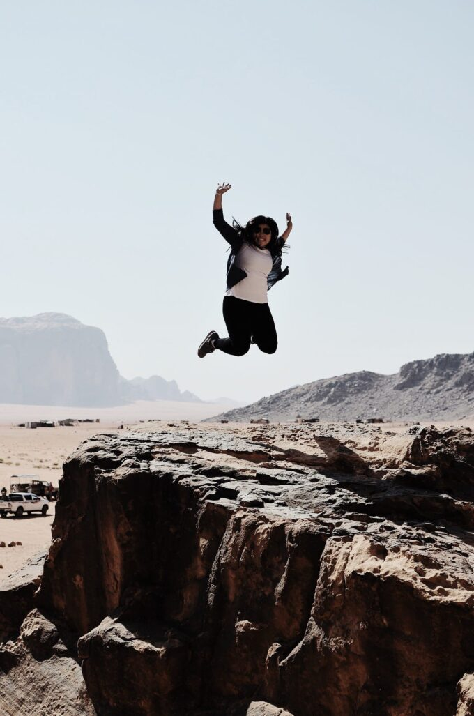Overnight in Wadi Rum | Sleeping in the Desert - 20+ jumping pictures later, this one turned out the best without hair flipping on my face