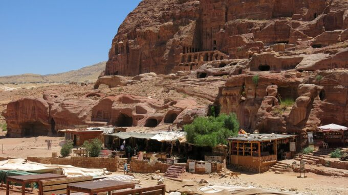 Take a moment's rest and visit one of the many souvenir shops ran by Bedouins in Petra just before you go down the Colonnaded Street
