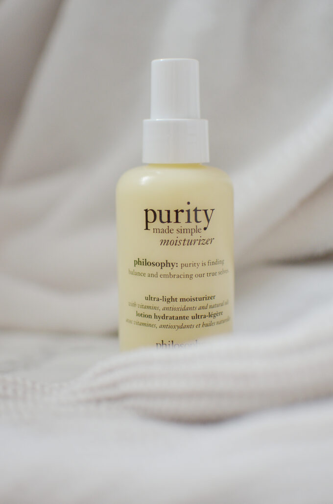 Joining the cleanser is the recently released Philosophy Pure Made Simple Moisturizer. This lightweight moisturizer is perfect for all skin types.
