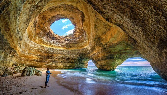 Benagil Cave in the Algarve Region of Portugal