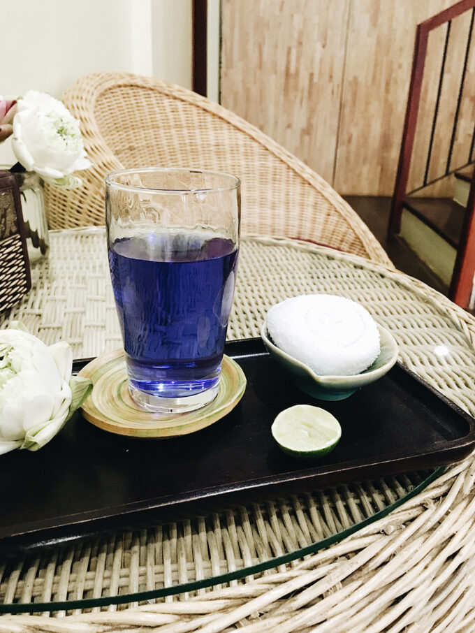 Waiting for an incredible massage with a welcome butterfly pea tea (Color changing tea!) in Siem Reap!