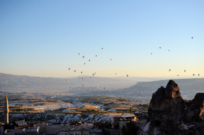 Watching the hot air balloons take off in Cappadocia!